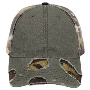 OTTO Camouflage Garment Washed Superior Cotton Twill Distressed Visor Six Panel Low Profile Baseball Thumbnail