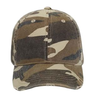 OTTO Camouflage Garment Washed Superior Cotton Twill Distressed Visor Youth Six Panel Low Profile Ba Thumbnail