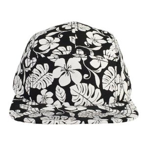 OTTO Hawaiian Pattern Superior Cotton Twill Square Flat Visor Snapback Five Panel Camper Hat Thumbnail