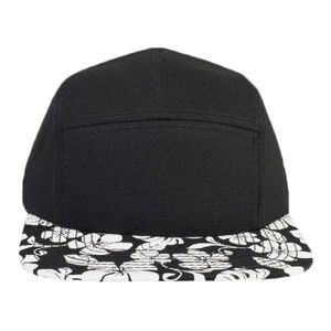 OTTO Superior Cotton Twill w/ Hawaiian Pattern Square Flat Visor Five Panel Camper Hat Thumbnail
