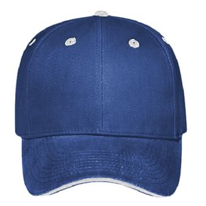OTTO Brushed Bull Denim Sandwich Visor Six Panel Low Profile Baseball Cap Thumbnail