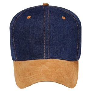 OTTO Suede Visor Brushed Denim Six Panel Pro Style Baseball Cap Thumbnail