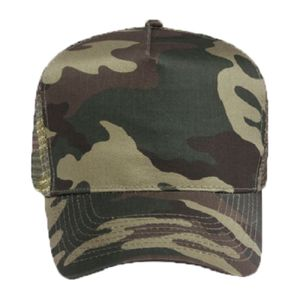 OTTO Camouflage Cotton Blend Twill Five Panel Low Crown Mesh Back Trucker Hat Thumbnail