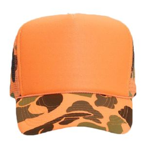 OTTO Neon Camouflage Polyester Foam Front Five Panel High Crown Mesh Back Trucker Hat Thumbnail