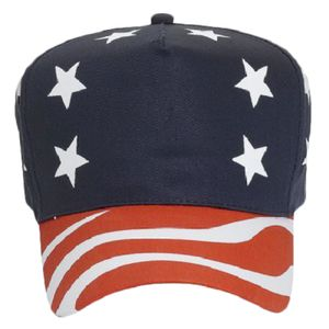 OTTO United States Flag Pattern Cotton Twill Five Panel Pro Style Baseball Cap Thumbnail