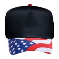 OTTO United States Flag Pattern Visor Cotton Twill Five Panel Low Crown Baseball Cap Thumbnail