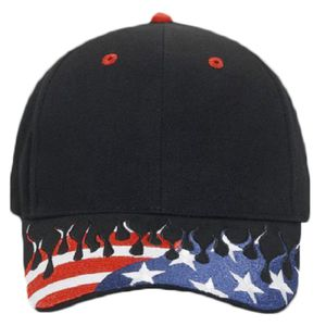 OTTO United States Flag Flame Pattern Visor Brushed Cotton Twill Six Panel Low Profile Baseball Cap Thumbnail