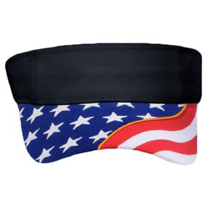 OTTO United States Flag Pattern w/ Yellow Piping Visor Ultra Fine Brushed Superior Cotton Twill Sun Thumbnail