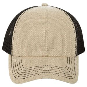 OTTO Burlap Six Panel Low Profile Mesh Back Trucker Hat Thumbnail